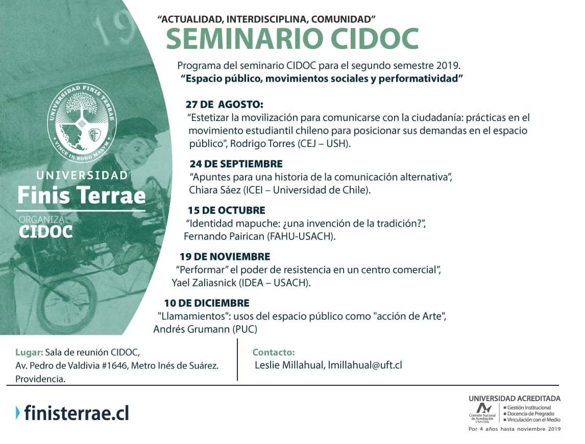 Programación Semestral del Seminario CIDOC: Actualidad, Interdisciplina y Comunidad
