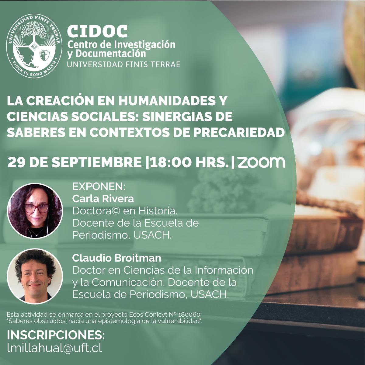 """Seminario CIDOC 29/9: """"La creación en Humanidades y Ciencias Sociales: sinergias de saberes en contextos de precariedad"""""""